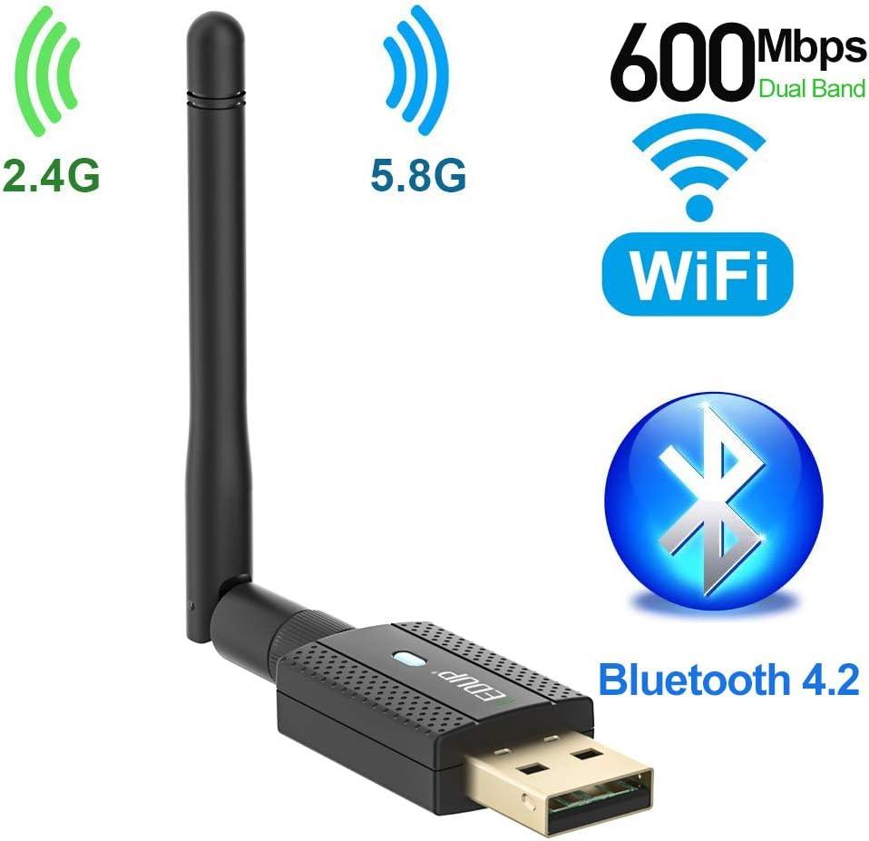 Adaptador WiFi USB de 600 Mbps Bluetooth 4.2 USB, Doble Banda 2.4Ghz / 5 GHz USB Adaptador inalámbrico con Antena 2DBI, USB WiFi Dongle para computadora de Escritorio, Compatible con Windows Vista/XP