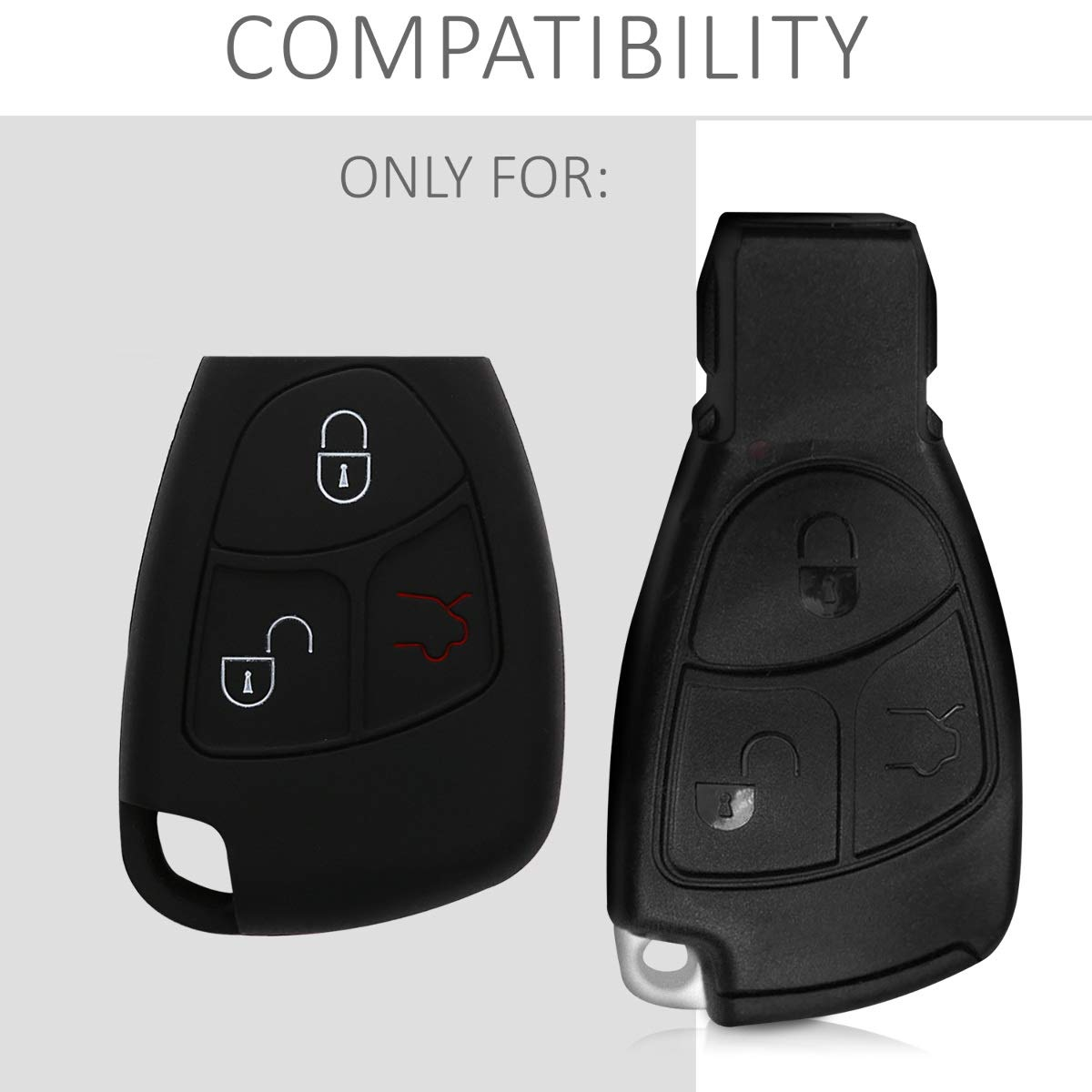 White//Black kwmobile Car Key Cover for Mercedes Benz Silicone Protective Key Fob Cover for Mercedes-Benz 2-3 Button Car Key