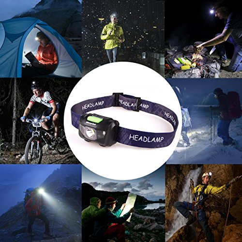 LED Headlamp,Morpilot 5 Modes Emergency Flashlight Headlight Battery Powered Head Light Waterproof Lightweight with SOS Strobe for Camping,Hurricane,Caving,Hiking,Walking