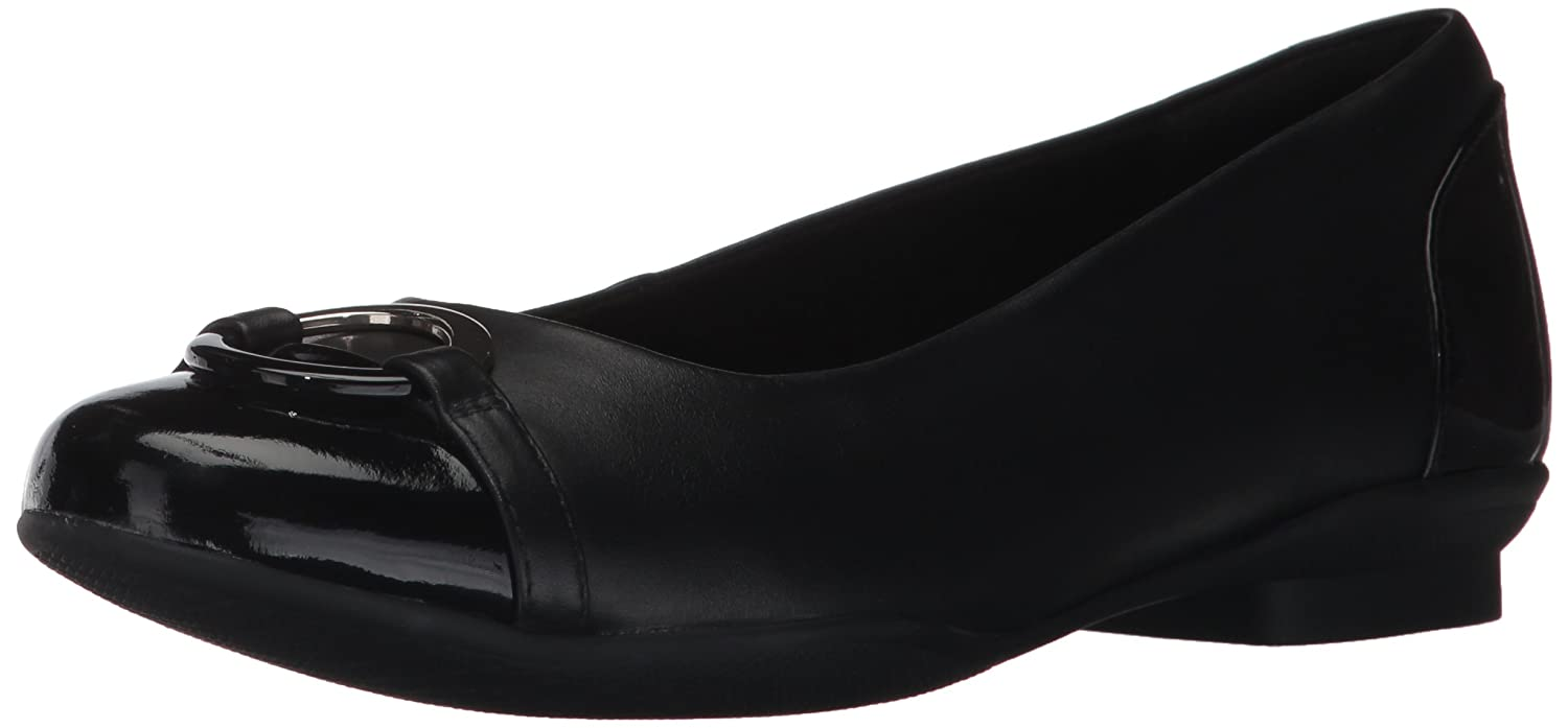 Black Leather Clarks Womens Neenah Vine Ballet Flats