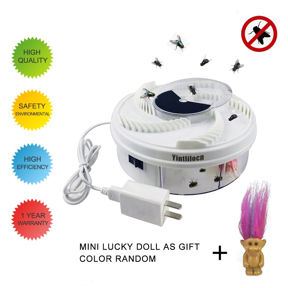 Electric Fly Trap Device, Physical Fly Trap Safe and Green with White USB Cable & Power Adapter