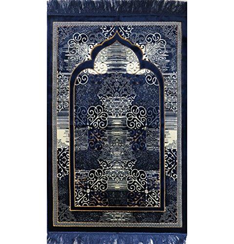 Muslim Prayer Rug - Islamic Plush Velvet Turkish Carpet Janamaz Sajadah FREE Prayer Cap Elegant Swirl (Blue)