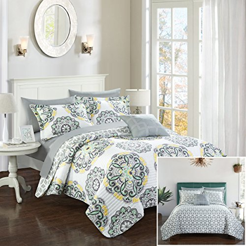 Chic Home Madrid 3 Piece Quilt Set Reversible Geometric Medallion Boho Pattern Print, Twin Grey