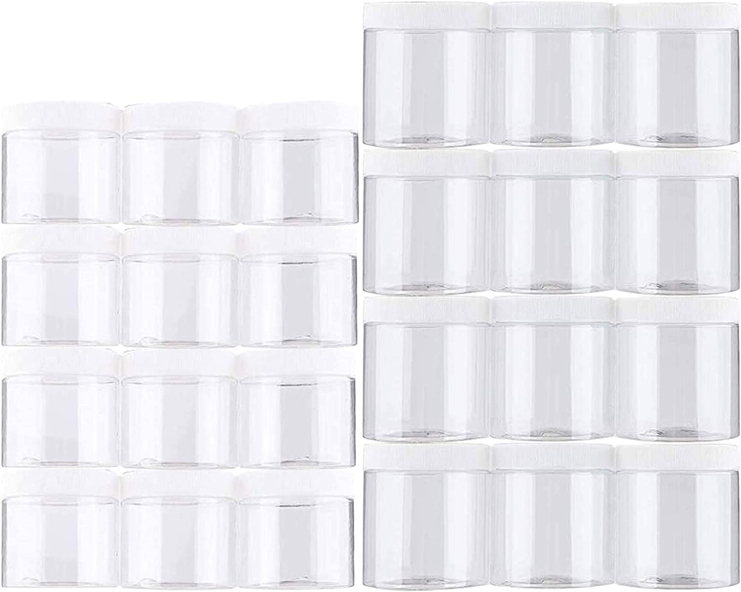 Habbi Slime Containers - 24 Pack Empty Slime Storage Jars 6 OZ. & 8 OZ. Clear Plastic Food Storage Jars with White Lids for DIY Slime Making, BPA Free