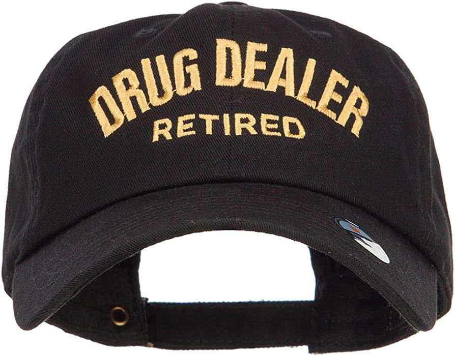 7fe5cd626e77d E4hats Drug Dealer Retired Embroidered Unstructured Cap - Black OSFM at Amazon  Men s Clothing store