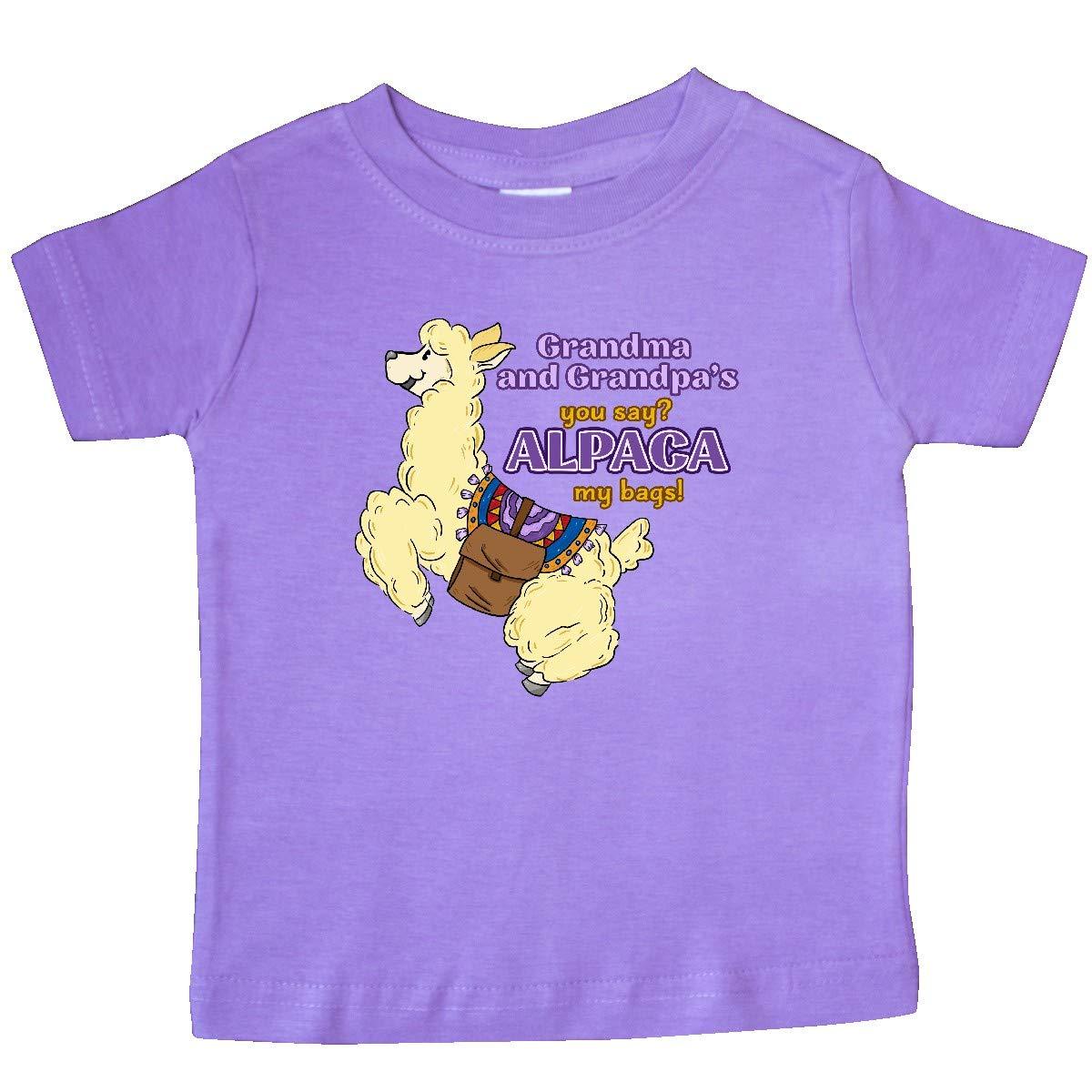 inktastic Cute Jumping Alpaca-Grandma and Grandpas You Say Alpaca Baby T-Shirt