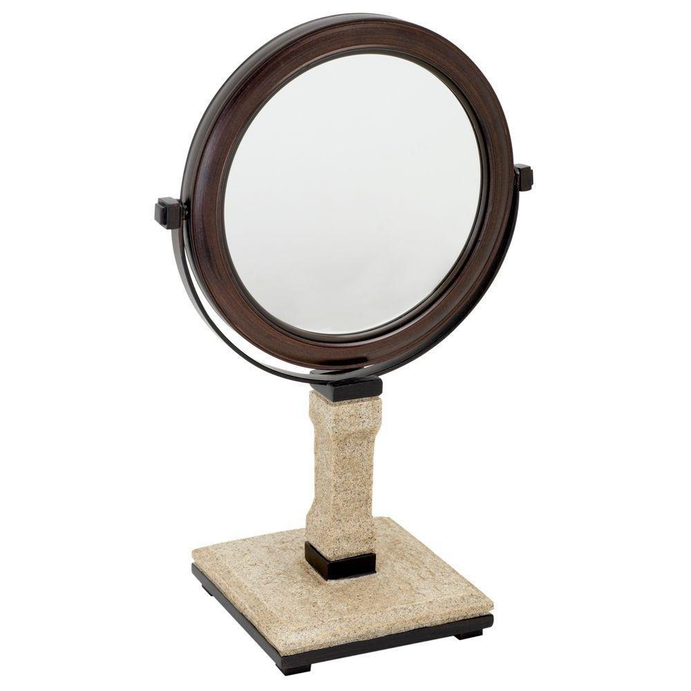 Zenna Home, India Ink Leland Vanity Mirror, Natural with Dark Bronze