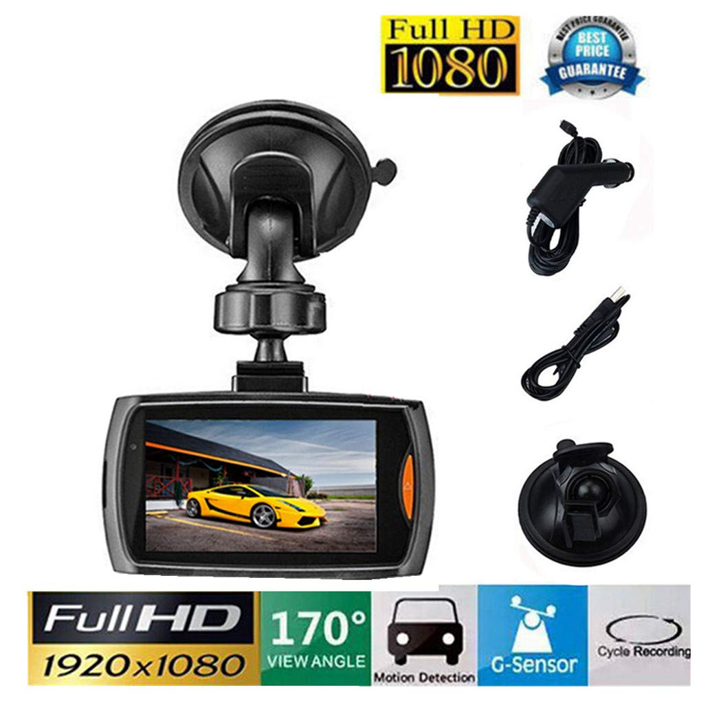 ABCOnline Dash Cam, Car 1080P 2.4 Full HD DVR Vehicle Camera Dash Cam Video G-Sensor Night Vision (2.4 inch, Black)