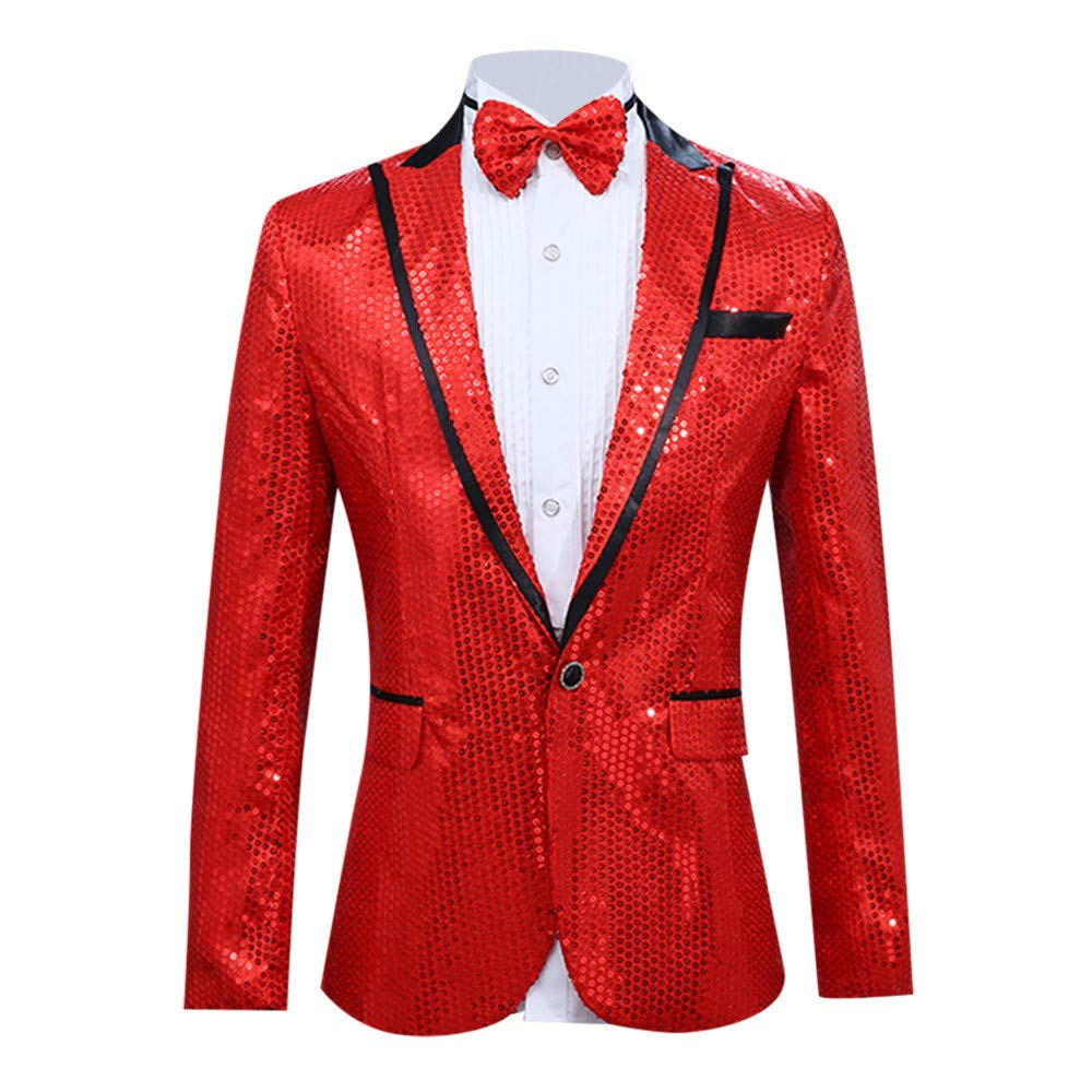 Baiggooswt Men's Shiny Sequins Suit Jacket Blazer One Button Tuxedo Party, Wedding, Banquet, Prom Baigoods_004989