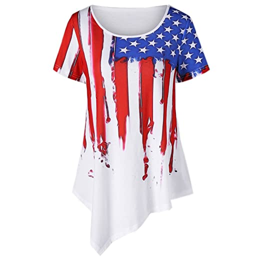 5b389e30 Clearance Women's American Flag Shirt Short Sleeve Patriotic 4th ...