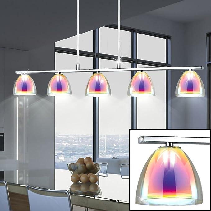 1-2x LED Aufbau Leuchten Chrom Wohnzimmer Glas Strahler Decken Lampen irisierend