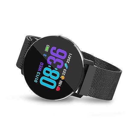QTEC Reloj Inteligente Reloj Inteligente Negro Pulsera de Ritmo cardíaco Monitor de sueño Monitor de Fitness
