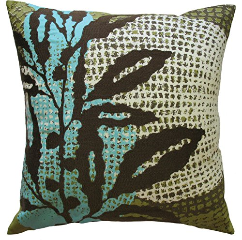 Koko Ecco Leaf Print and Embroidery Cotton Pillow, 18 by 18-Inch, Brown ()