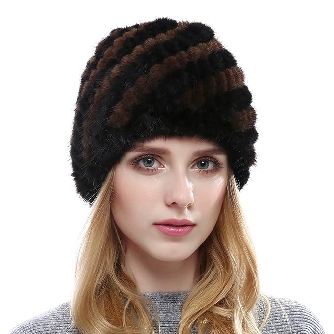 OLLEBOBO Cappello di Pelliccia del Real Mink della Donna per l autunno  Inverno Nero e deaed4751c05