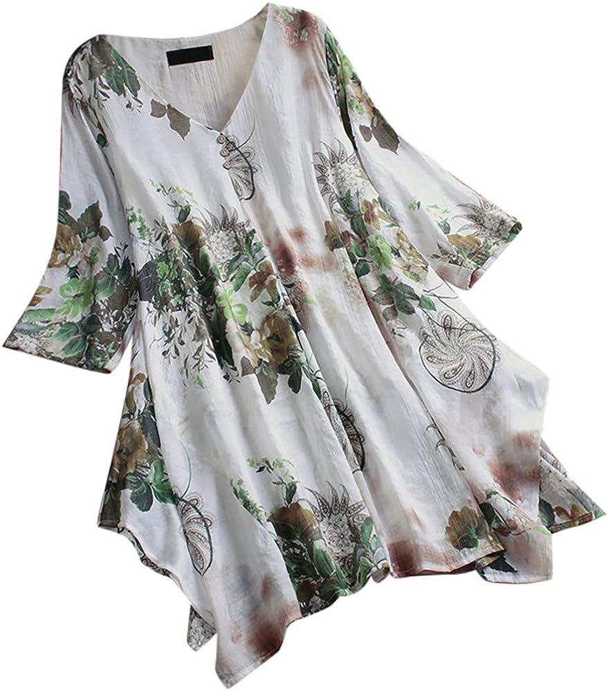 COZOCO Camiseta con Estampado Floral Vintage con Cuello En V ...