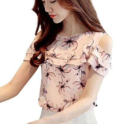 4774808f605bc5 Floral Printed Shirt Ladies Summer Chiffon Ruffles Blouses Off Shoulder Tops  Casual Floral Print Tops Women