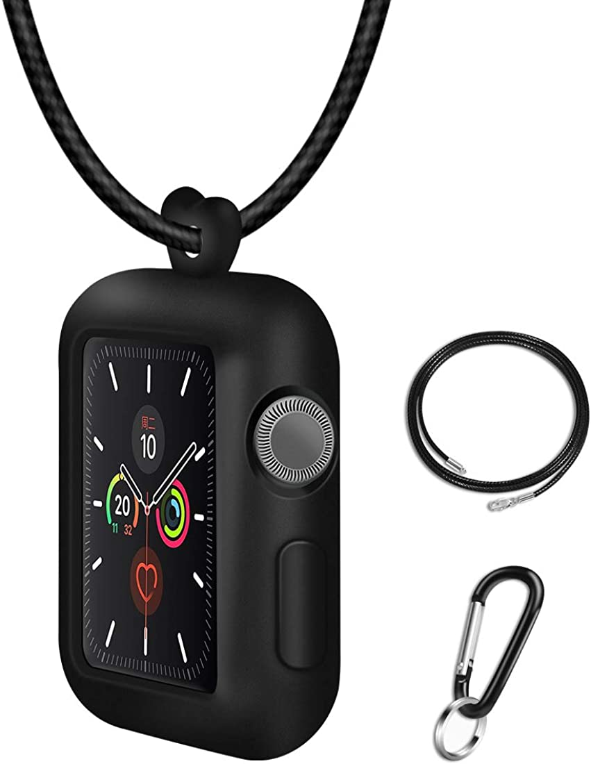 JTlong88 with Genuine Leather Necklace Pendant Strap Replacement Silicone Protector Cases Cover Compatible for Apple Watch Series 5 4 3 2 1 38mm 40mm 42mm 44mm Neck Band Accessories