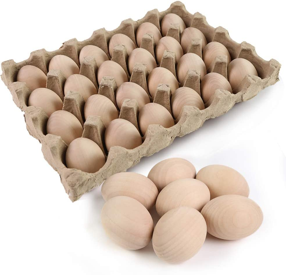 SallyFashion 24 Pcs Unpainted Wooden Eggs Fake Eggs Easter Eggs for Children DIY Game, Kitchen Craft Adornment, Toy Foods