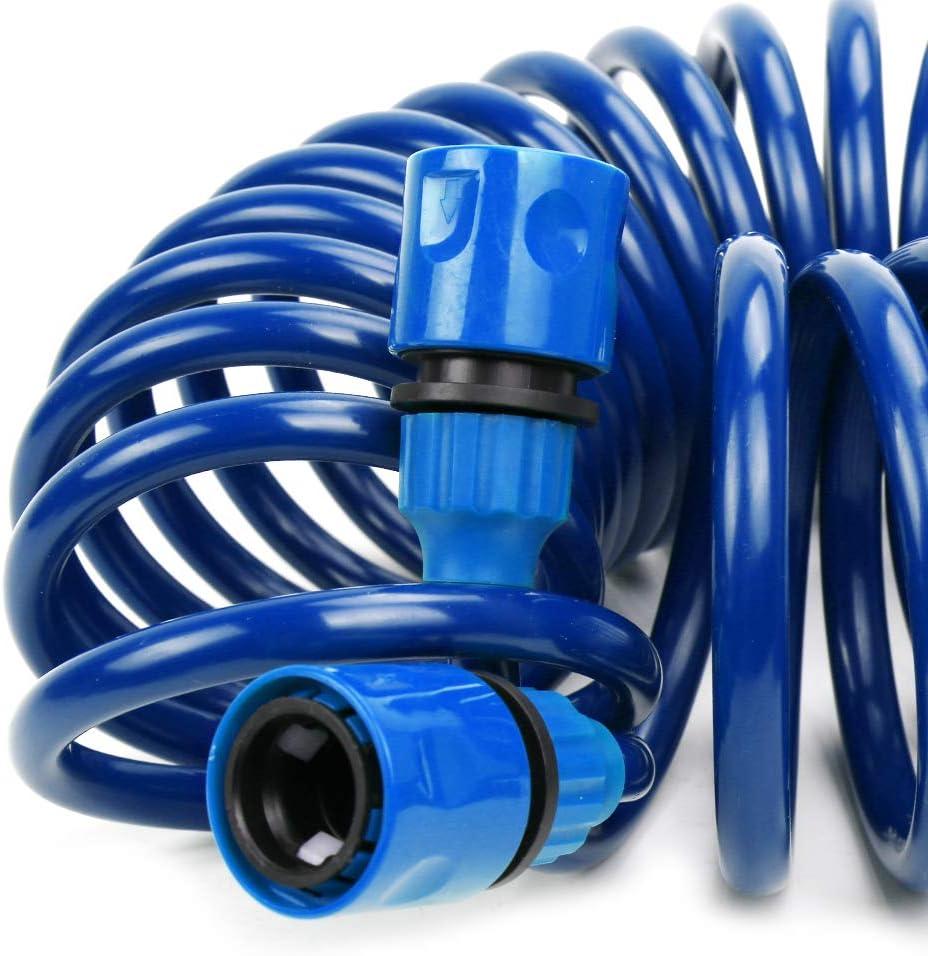 PiscatorZone Garden Hose 50 ft EVA Spring Telephone Line Water Pipe Car Wash Garden Water Hose Set (50ft)