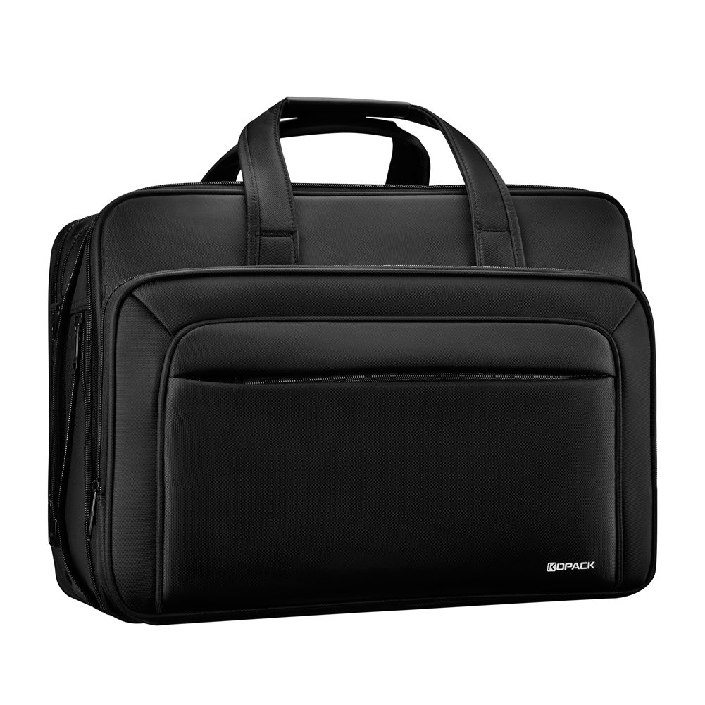 KOPACK Expandable Laptop Briefcase 17 17.3 Inch Large Business Water Resistant Shoulder Computer Bags Black by kopack (Image #1)