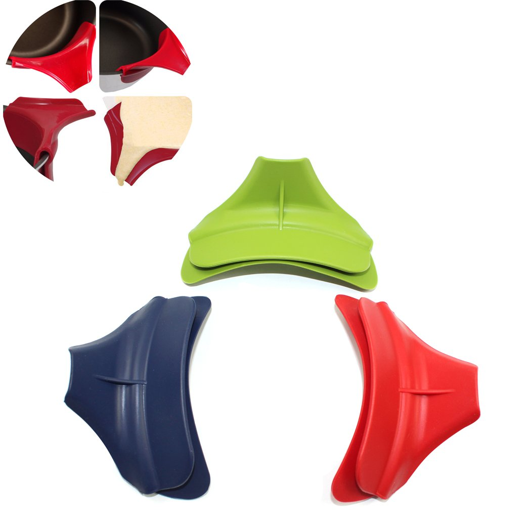 3PCS Pot Round Edge Deflector, Silicone Kitchen Dedicated Anti-spill Pots Round Mouth Edge Deflector (Random Colors) Abcsea