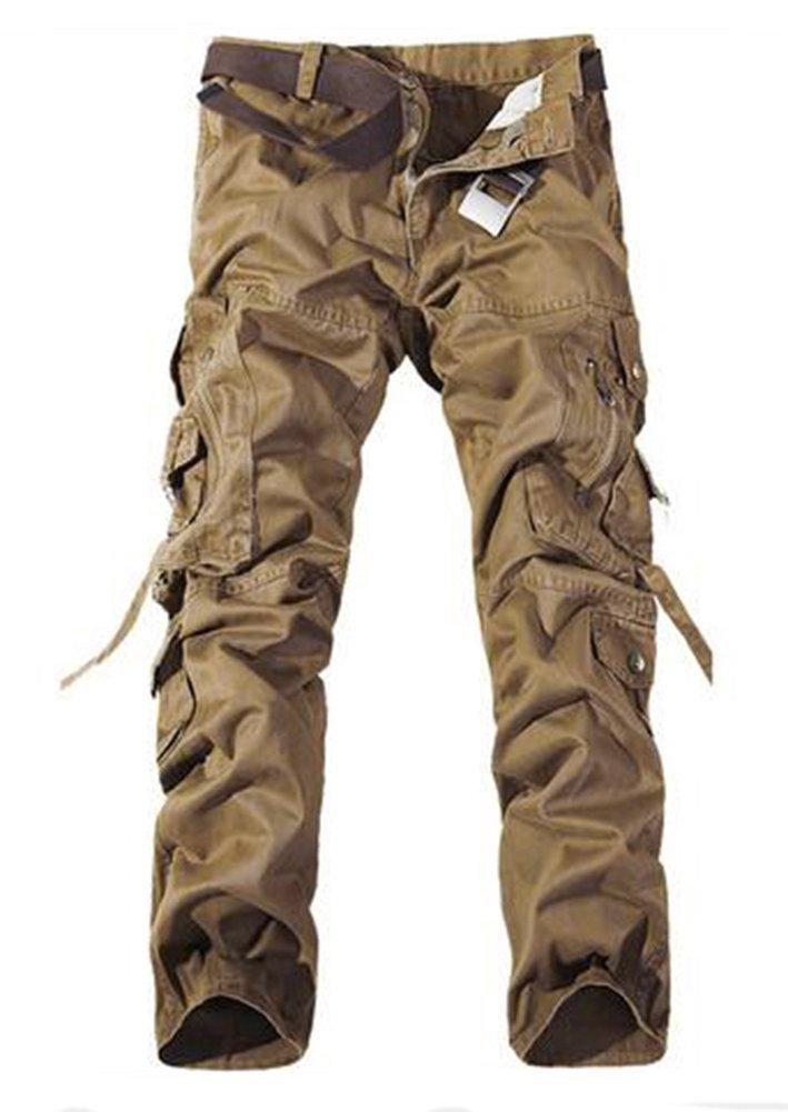 Keybur Men's Cotton Casual Military Army Cargo Camo Combat Work Pants (36, Khaki)