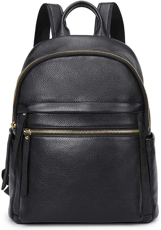 Kattee Genuine Leather Backpack Purse for Women Multi-functional Elegant Daypack Soft Leather Shoulder Bag Office, Shopping, Trip - Black