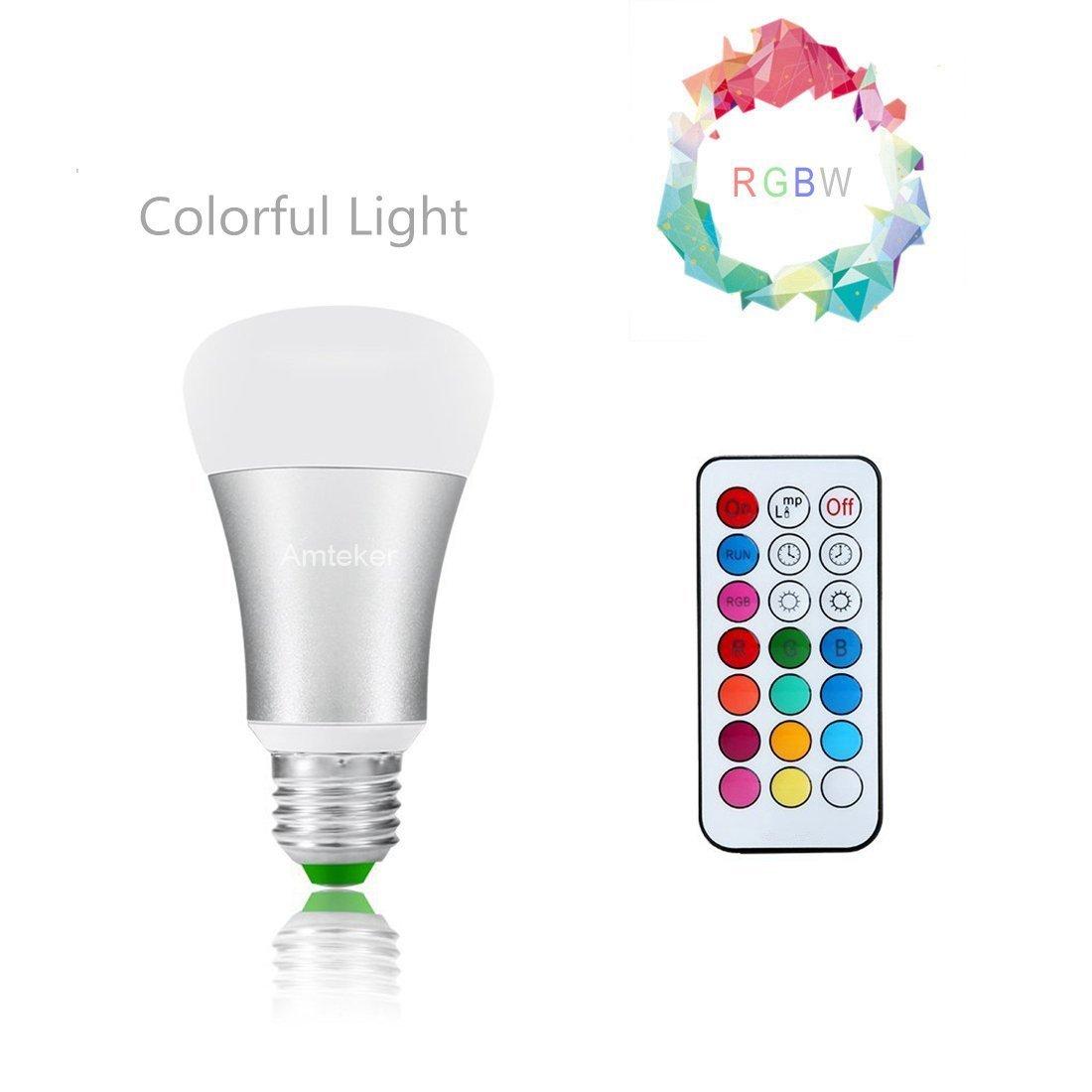 Amteker LED RGB Bulb E27 10W Remote Control LED Light Bulb RGBW 330 Degree LED Lamp Dimmable 85-265V with Remote Control