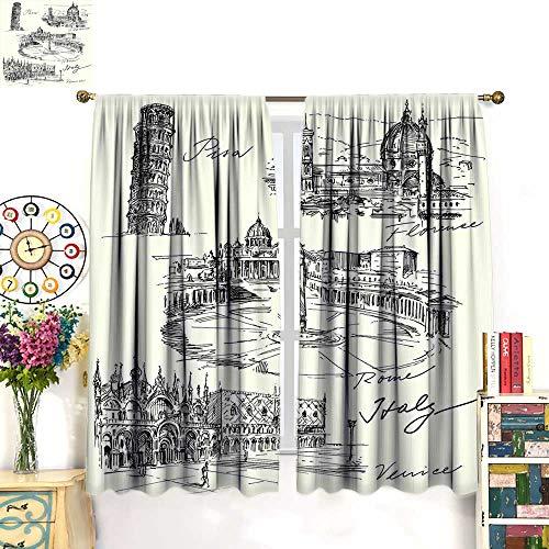 WinfreyDecor Sketchy Customized Curtains Travel The World Themed Historical Italian Landmarks Venice Rome Florence PisaBlackout curtainBlack White. W55 x -