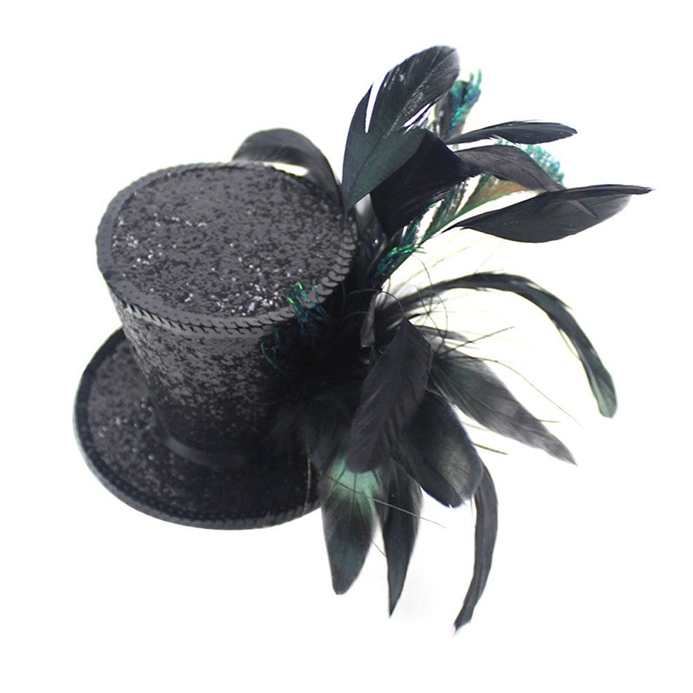 Song Kentucky Derby Races Mini Top Hat Feather Fascinator Tea Party Cosplay(Black)