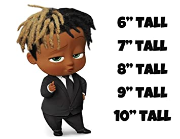 African American Boss Baby Boy With Dreads Cake Topper