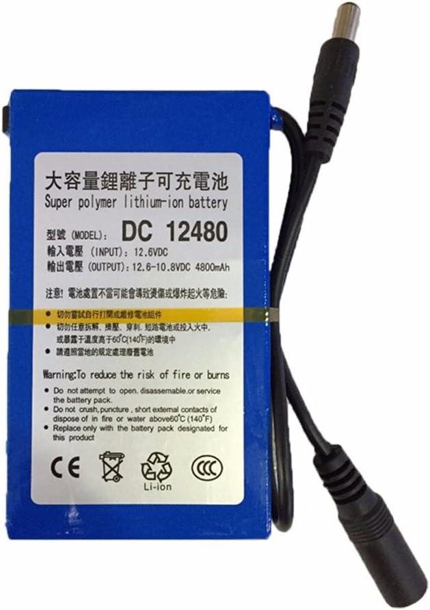 Batería Lipo portátil 4800 mAh DC 12 V 12,6 V Super recargable Pack adaptador de CA UE/US para cámara CCTV vídeo récord