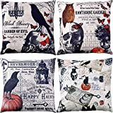 Jetec 4 Pieces Halloween Pillow Cover Vintage Throw Cushion Cover with Crow Skull Pumpkin Pattern for Halloween Home Decoration, 18 by 18 Inches