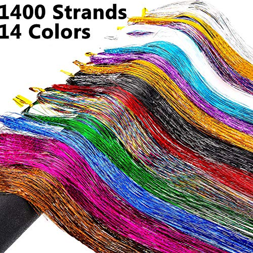 Hair Tinsel 1400 Strands 14 Colors, Shining Sparking Hair Tinsel Colored Glitter Hair Extensions Synthetic Hair Streak Hairpiece