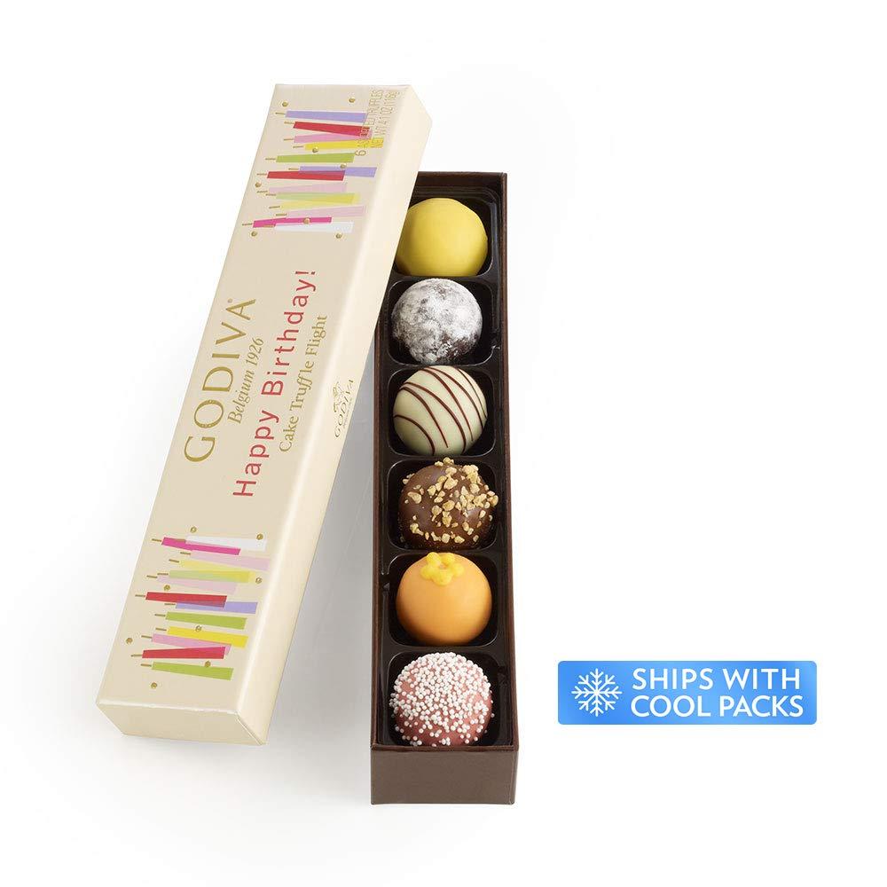 Godiva Chocolatier Happy Birthday Cake Chocolate Truffle Flight, Great for any gift, Birthday Gift, Easter Gifts, Easter Baskets, Easter Chocolate, 6 Count