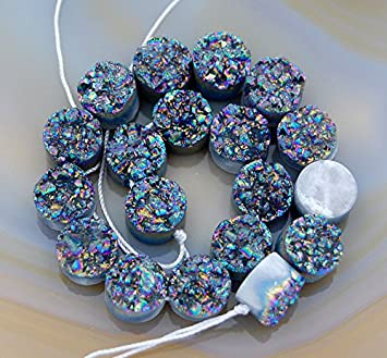 Druzy Quartz Agate Side Drilled Flat Back Connector Cabochon Round Beads 12mm