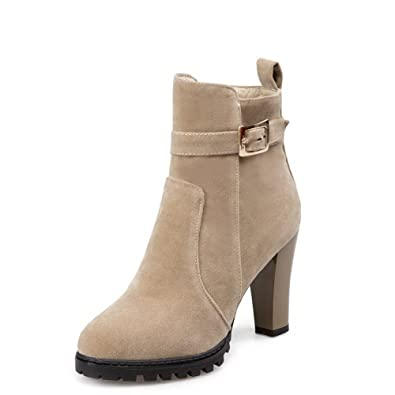 Women's Solid High Heels Round Closed Toe Imitated Suede Zipper Boots