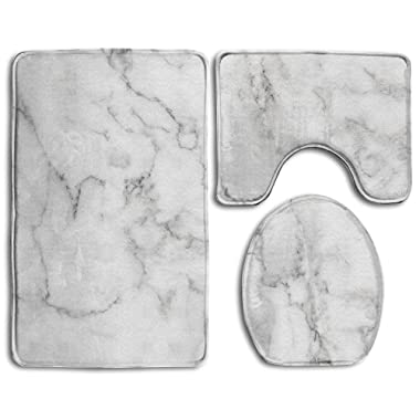 Hexu Natural White Marble Texture For Background Or Skin Tile Wall Luxurious Picture High Resolution Bathroom Rug 3 Piece Bath Mat Set Contour Rug And Lid Cover
