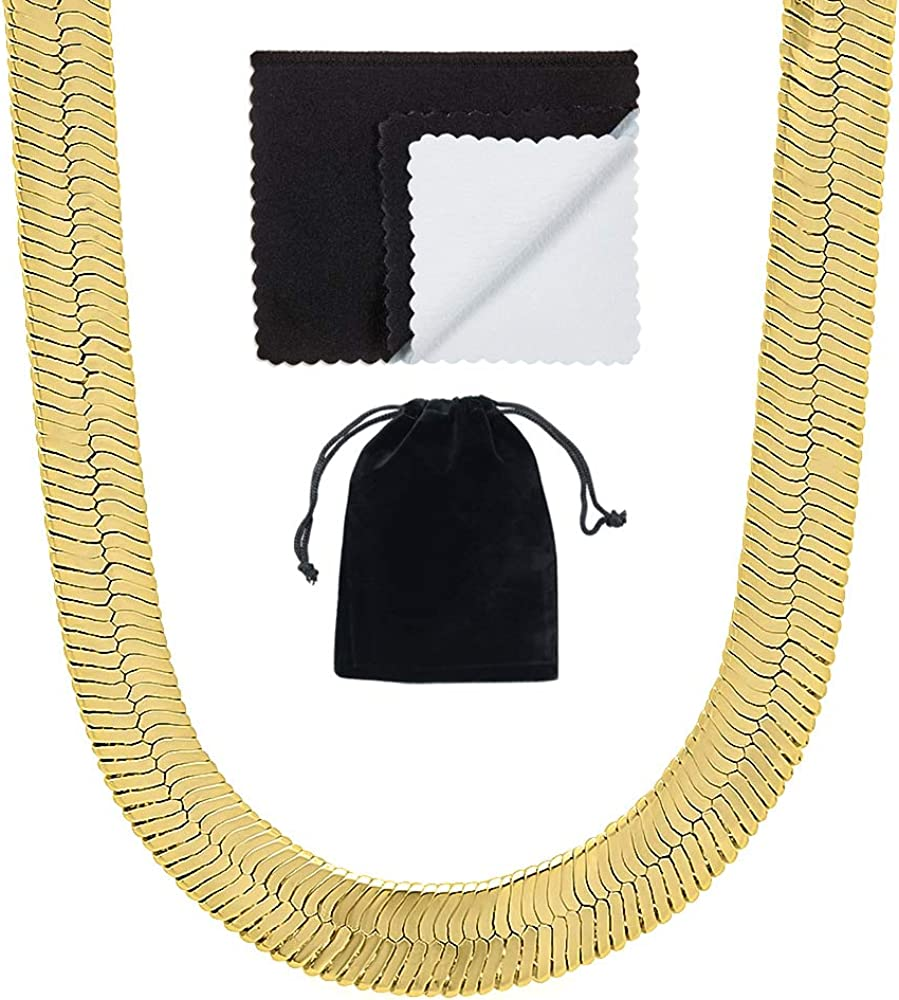 The Bling Factory 9mm 0.25 mils (6 microns) 14k Yellow Gold Plated Herringbone Chain Necklace, 7'-30 + Jewelry Cloth & Pouch