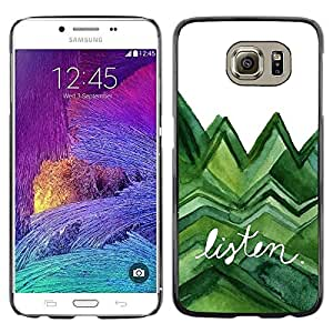 LECELL--Funda protectora / Cubierta / Piel For Samsung Galaxy S6 SM-G920 -- Listen Trees Green Watercolor Lizard White --