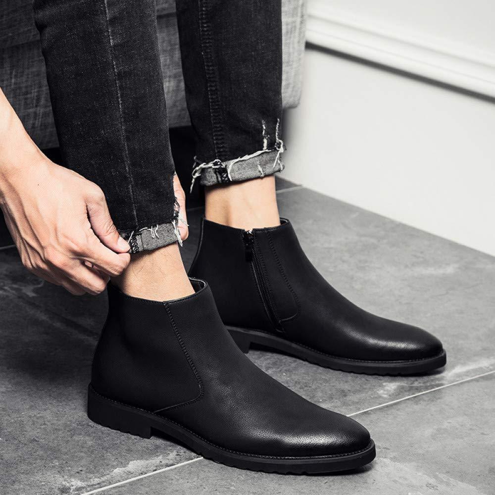 FHCGMX Spitz Echtes Leder Leder Leder Männer Stiefel Bequeme Reißverschluss Business Kleid Stiefel Schuhe Männer Schwarz Braun Mode Stiefeletten e8cd2f