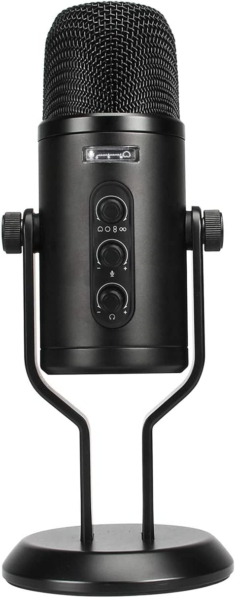 AmazonBasics Professional USB Condenser Microphone with Volume Control and OLED Screen - Black