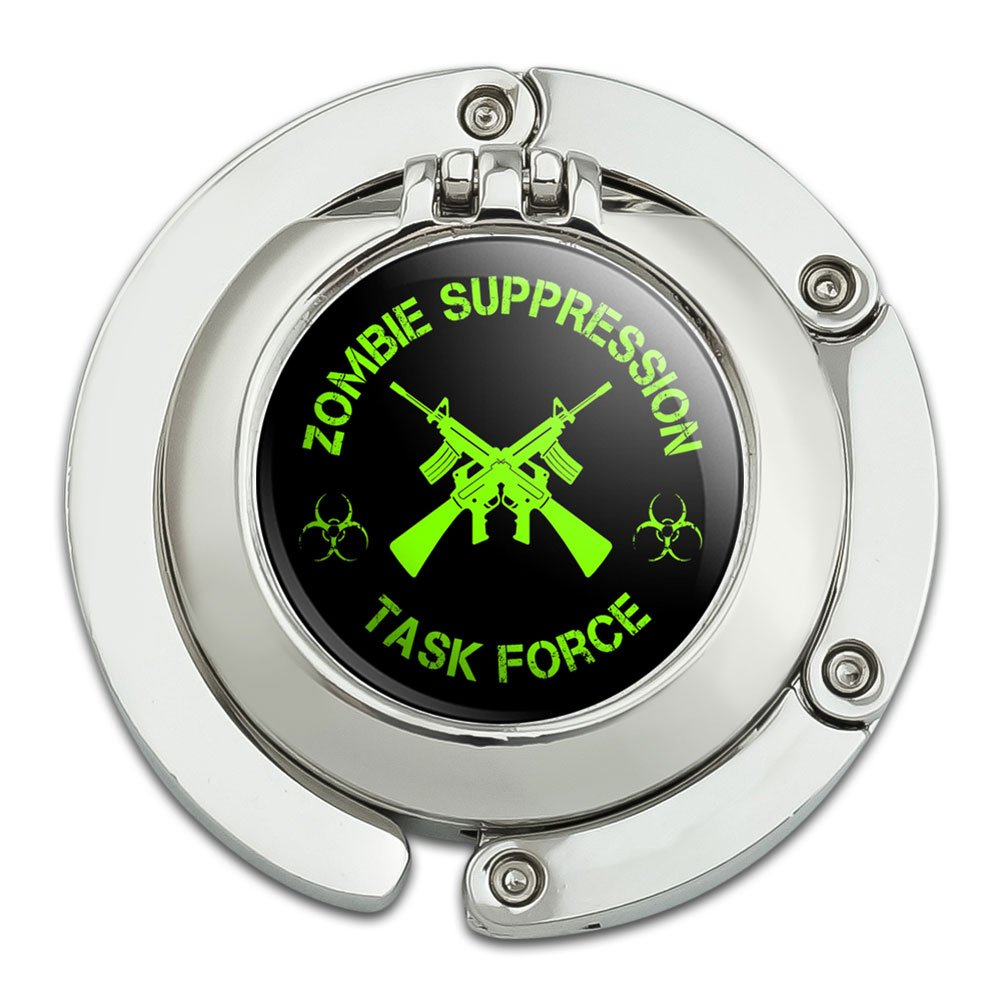 Zombie Suppression Task Force AK-47 Biohazard Green Foldable Table Bag Purse Caddy Handbag Hanger Holder Hook with Folding Compact Mirror