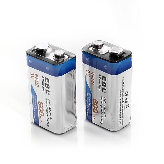 EBL 4 Unidades Alta Capacidad de 9V 600mAh Li-ion Batería Recargable para Microfono Inalambrico, Alarmas de Humo, Dispositivos Médicos, Juquetes y Relojes ...