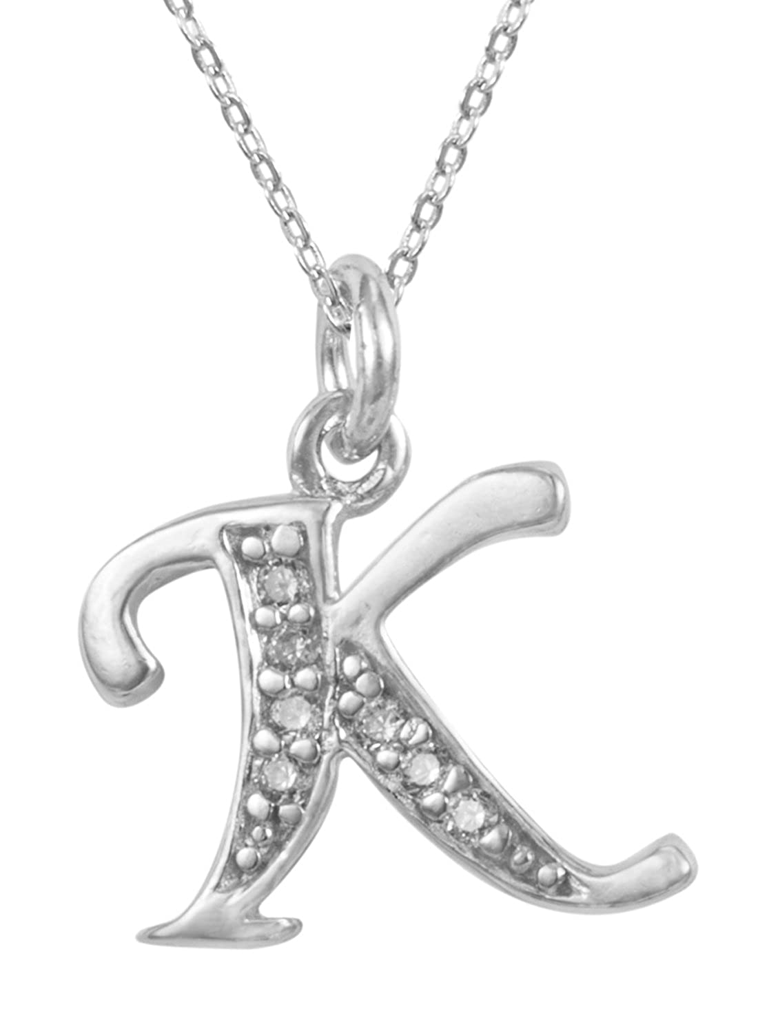 Adabele Sterling Silver Letter Pendant Necklace 18 Personalized Initial Necklace Anniversary Birthday Mothers Gift NK18