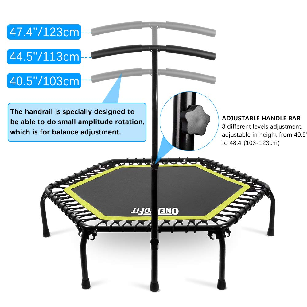 ONETWOFIT 45 Silent Mini Trampoline with Adjustable Handle Bar Fitness Trampoline Bungee Rebounder Jumping Cardio Trainer Workout for Female or Kids Supports to 176 Lbs(80kg) OT122