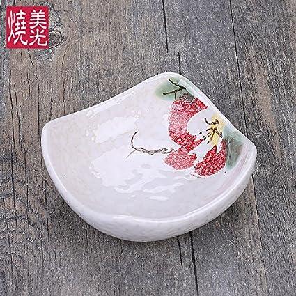 YUWANW Pequeño Cuadrado De Cerámica Platos Japoneses para Degustar Platos Salsas Olla Plato Caliente De Salsa