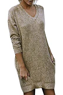 ee0587cf883 Automne Hiver Pull Robe Femme Hiver Solide Col V Casual Manche Longue  Grande Taille Mini Robes