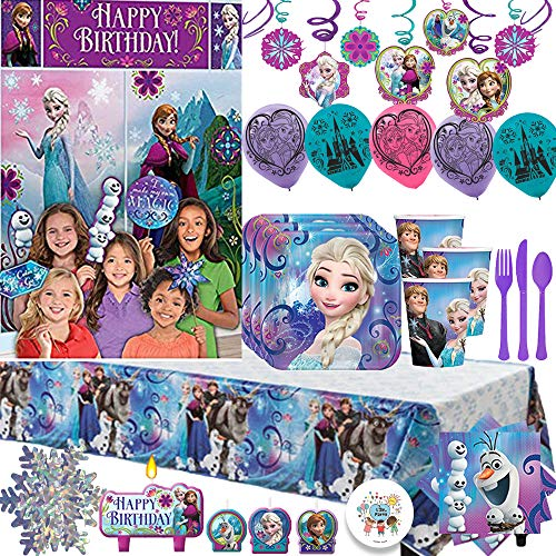 (Frozen MEGA Birthday Party Supply Pack For 16 Guests; Plates, Napkins, Tablecover, Cups, Candles, Balloons, Cutlery, Swirls, Snowflake Garland, Frozen Scene Setter and Photo Props, Plus Exclusive Pin!)