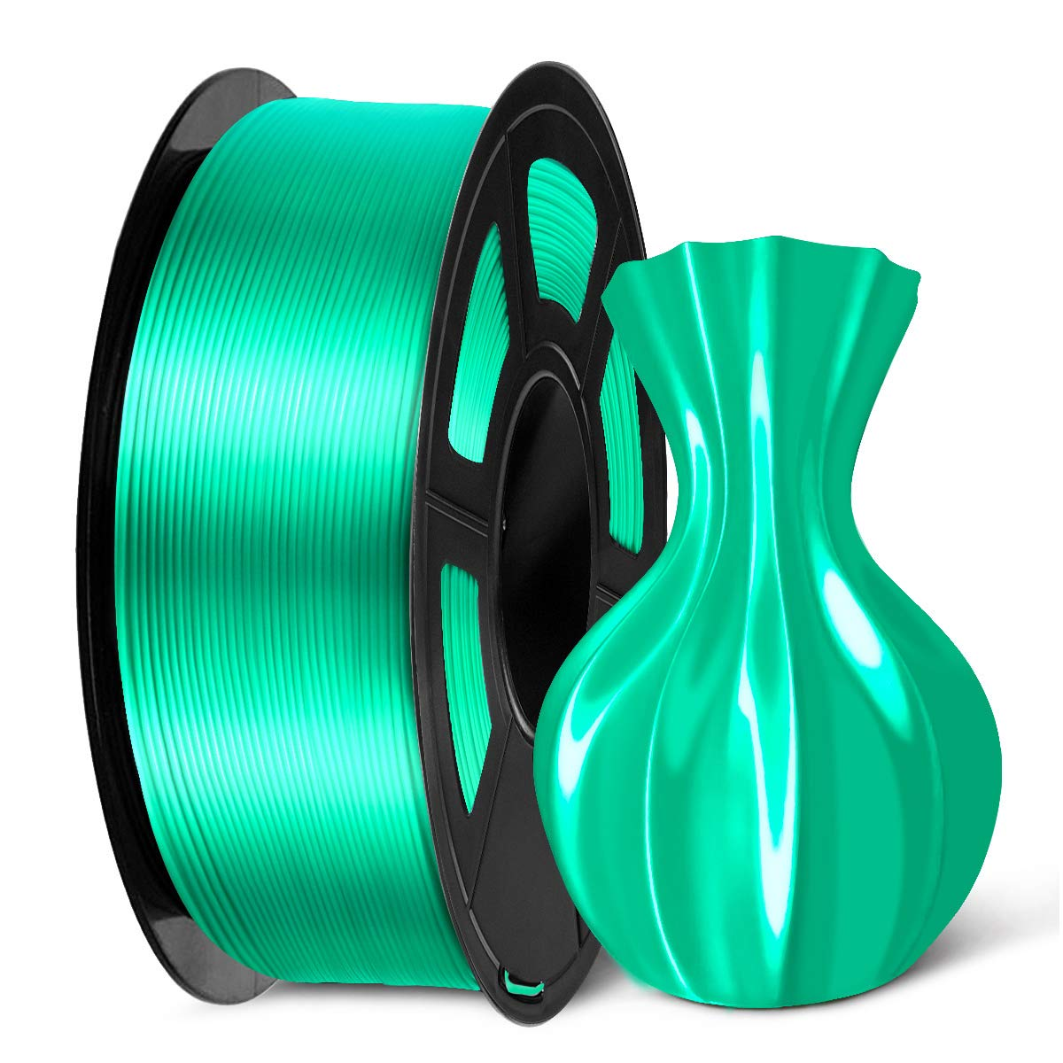 SUNLU PLA Silk Green Filament 1.75mm, 3D Printer Filament, Shiny Silk 1.75 PLA Filament, 1KG(2.2LBS)/Spool, Green Silk PLA